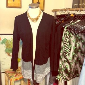 Style & co black cardigan with grey striped trim l
